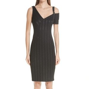 YIGAL AZROUEL Weave Stretch Cold Shoulder Dress